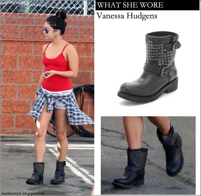 vanessa hudgens in red top white shorts plaid shirt and black boots with studs on september 14 in los angeles