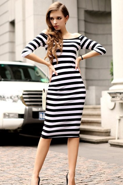 Sexy-Horizontal-Neckline-Stripe-Dress